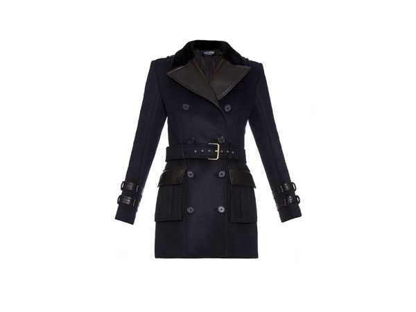 Fur-collar wool and cashmere-blend coat from Balmain