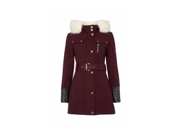 Wool hooded coat with faux-fur trim from Halifax Traders