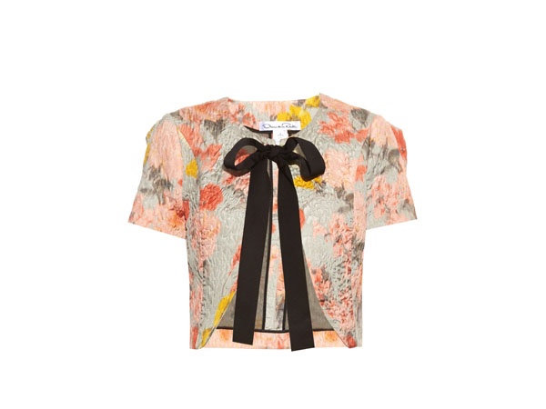 Floral-jacquard cropped jacket from Oscar de la Renta
