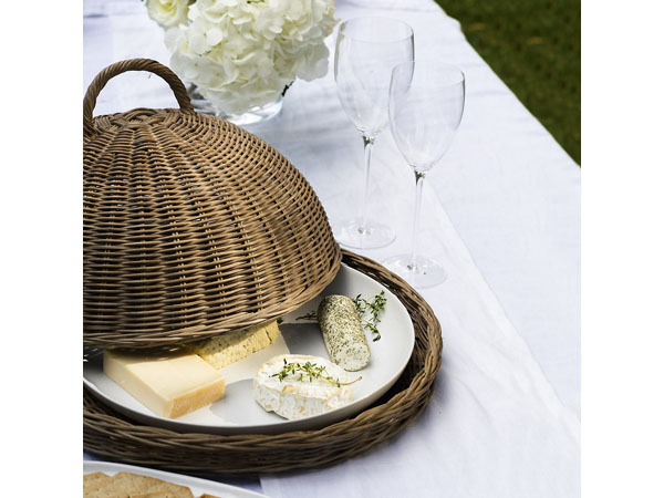 Hand-woven cloche and tray from The White Company