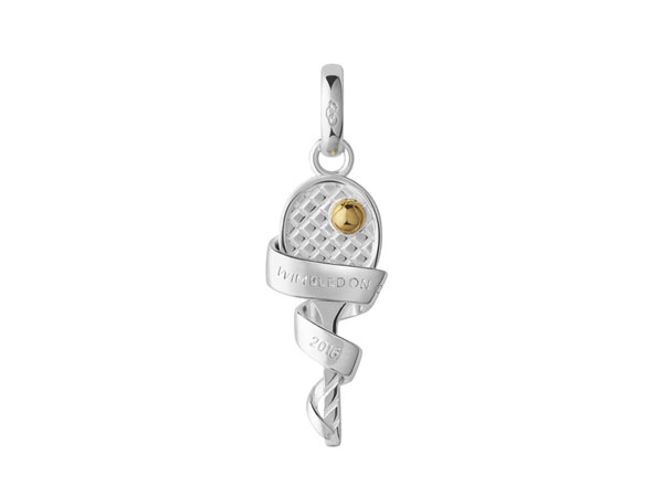 Sterling silver and 18kt gold vermeil tennis racket charm from Links of London