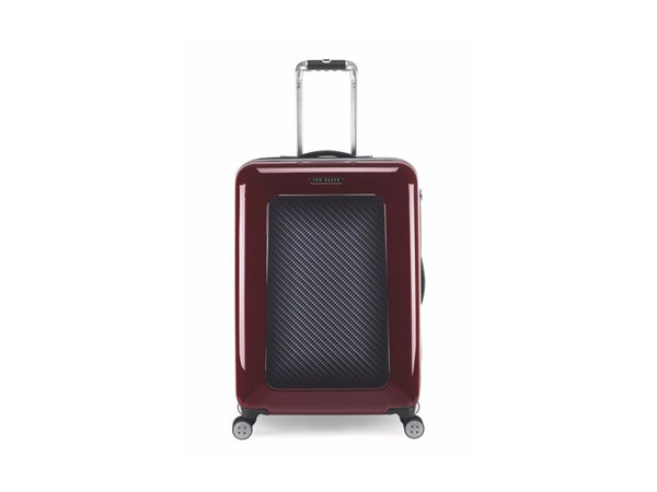 Burgundy herringbone suitcase from Ted Baker