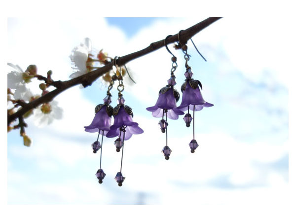 Amethyst flower earrings from Lilys Woodland Flowers