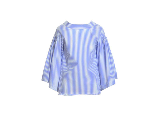 Bell sleeved top in blue and white stripped cotton from Teija Eilola