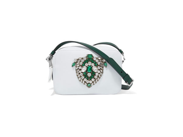 Claudine crystal-embellished leather shoulder bag from Rochas