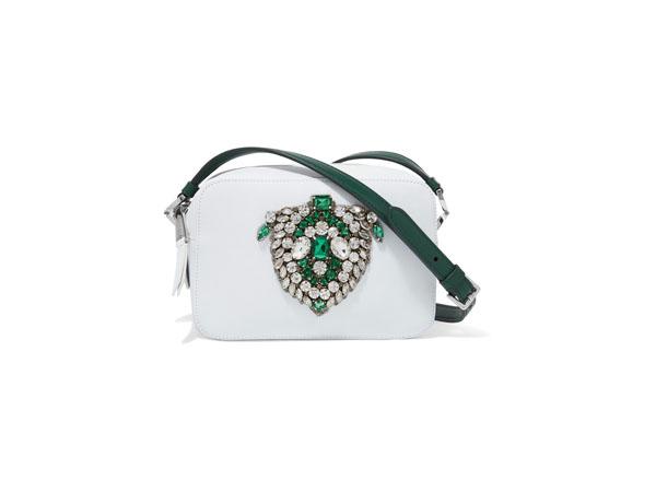 Claudine crystal-embellished leather shoulder bag from Rochas