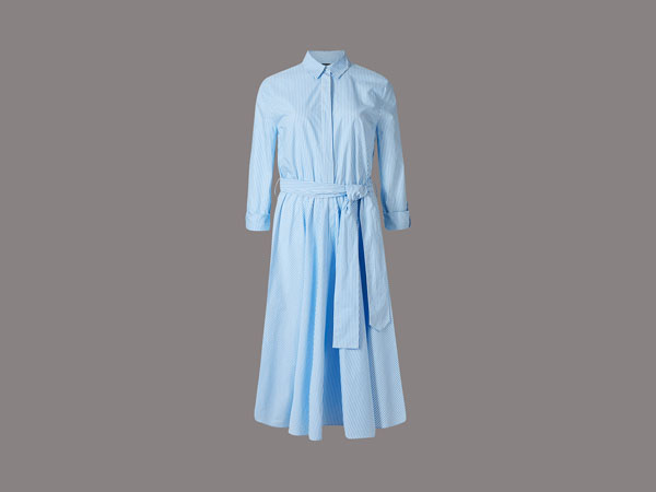 Pure cotton striped shirt dress with belt from Autograph