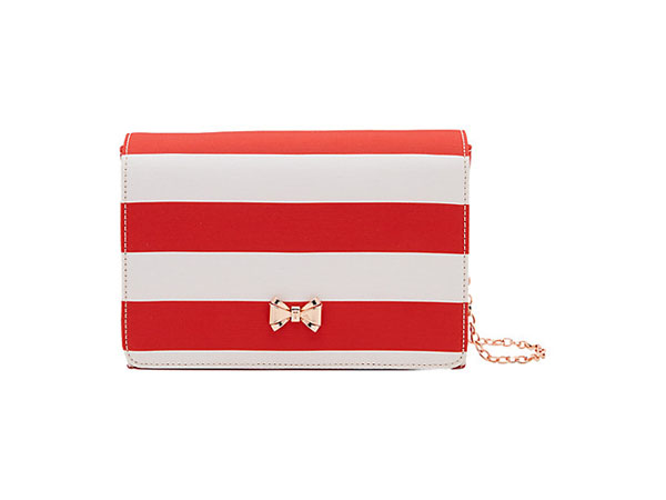 Red stripey evening bag from Ted Baker