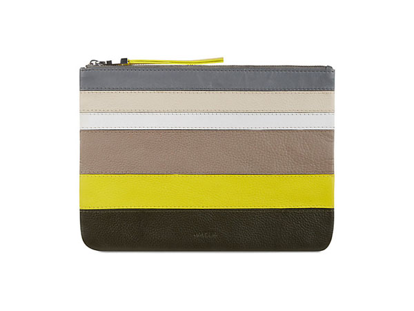 Yellow leather stripe clutch bag from Jaeger