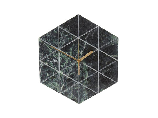 Marble tiled geometric wall clock from Karlsson