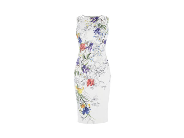 White and floral pencil dress from Karen Millen
