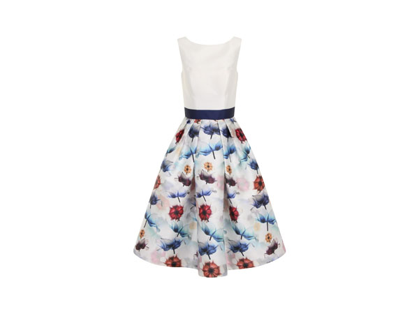 Digital floral block print midi dress from Chi Chi London