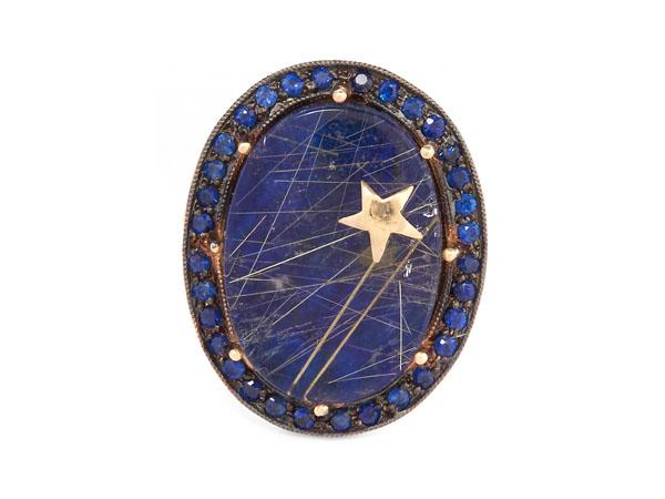 Gold galaxy lapis lazuli quartz ring from Andrea Fohrman