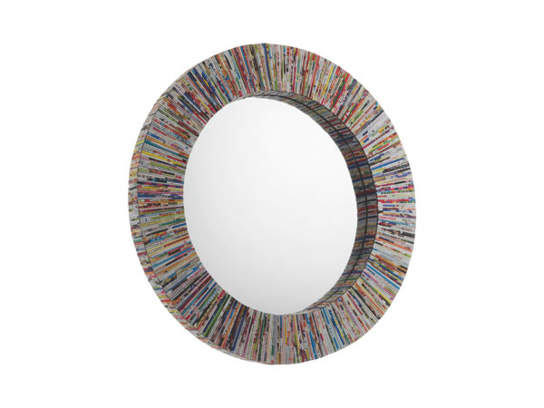 Multi-coloured recycled magazine mirror from Cohen