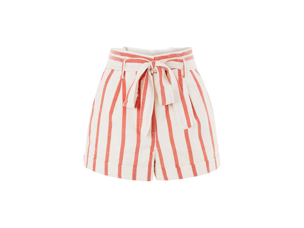 Stripe paper bag shorts from Topshop